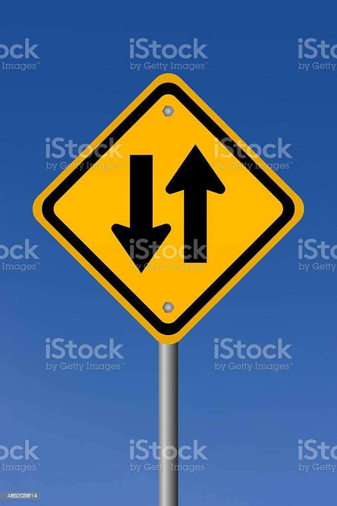 Two way road sign stock photo