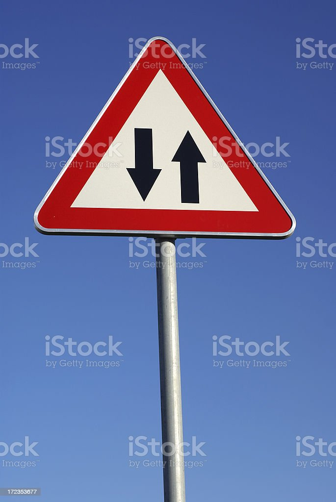 Two way warning traffic sign. royalty-free stock photo