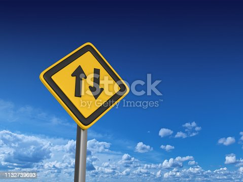 Two Ways Road Sign - Sky Background - 3D Rendering