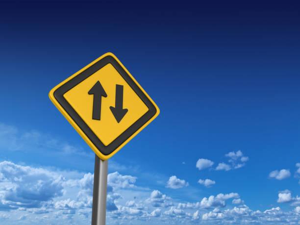 two ways road sign-3d rendering - zweispurige strecke stock-fotos und bilder