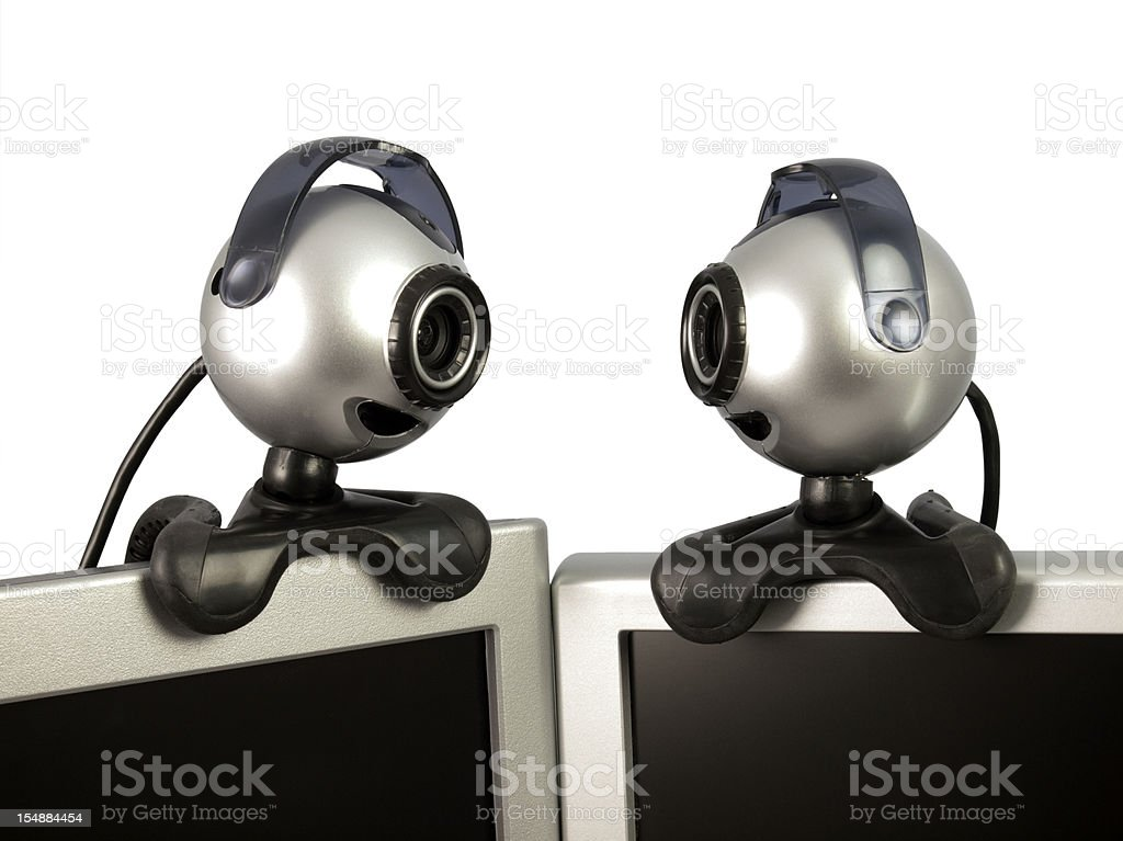 Two Webcams on a white background royalty-free stock photo