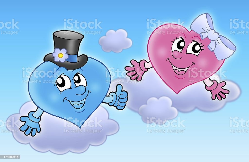 Two wedding hearts on sky stock photo