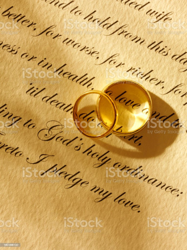 Two Wedding Rings And Traditional Marriage Vows Stock Photo More