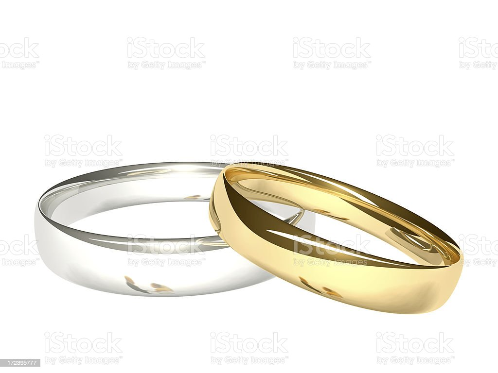 Two Wedding Rings - Bride and Groom Reflected royalty-free stock photo