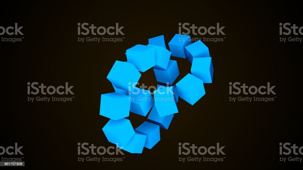 Two wheels of cubes in black space, geometric 3d render abstraction, computer generating background stock photo