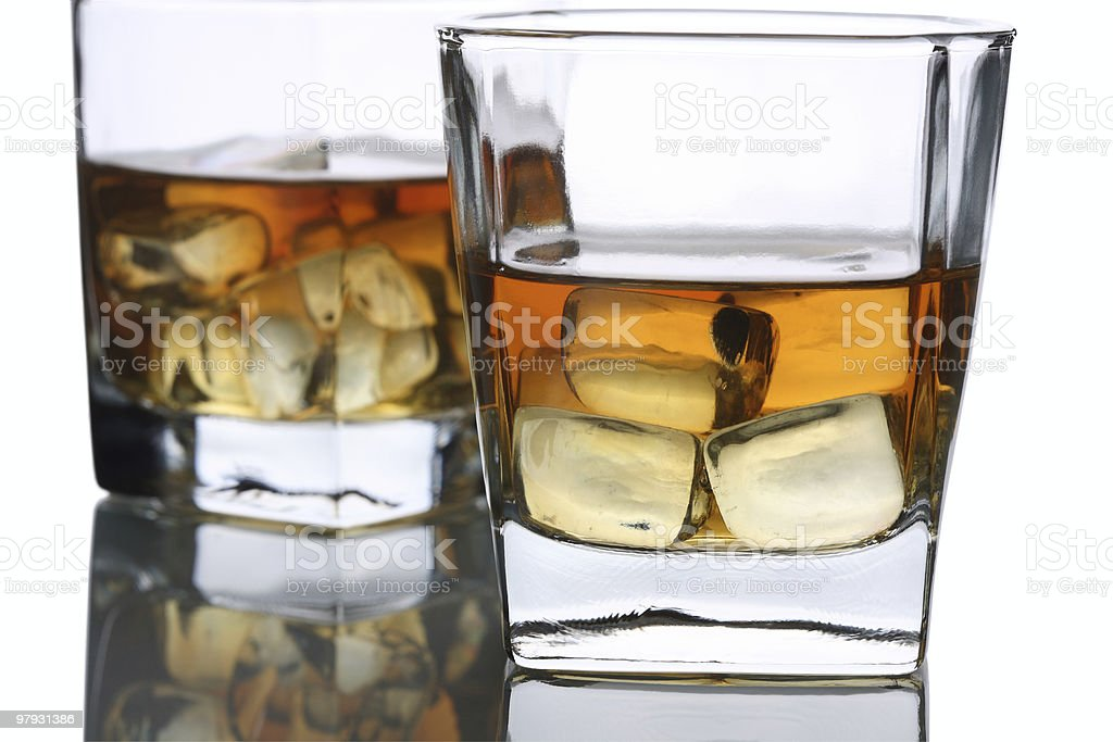 Two Whisky Glass  with Ice royalty-free stock photo