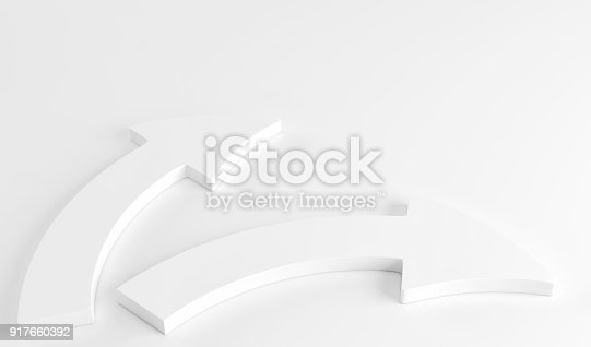istock Two white arrows laying down on white background. 3d render 917660392