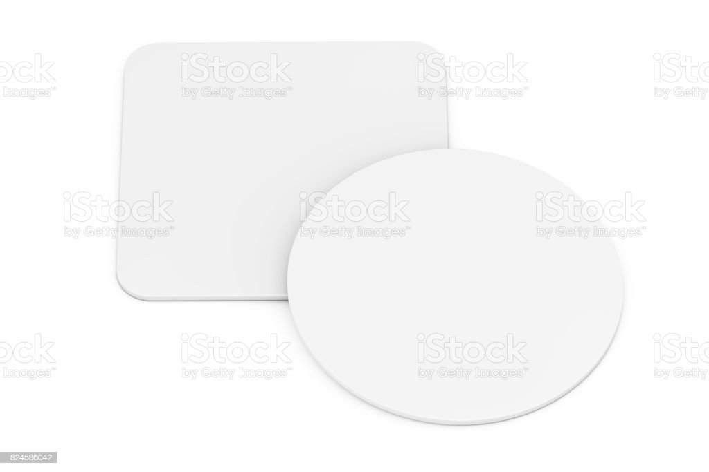 Two White Blank Beer Coasters. 3d Rendering stock photo