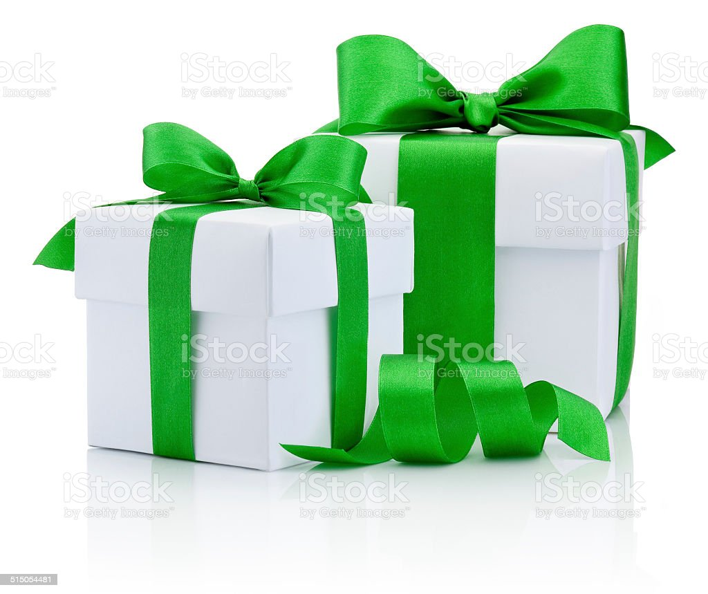 Two White boxs tied green ribbon bow Isolated on white stock photo