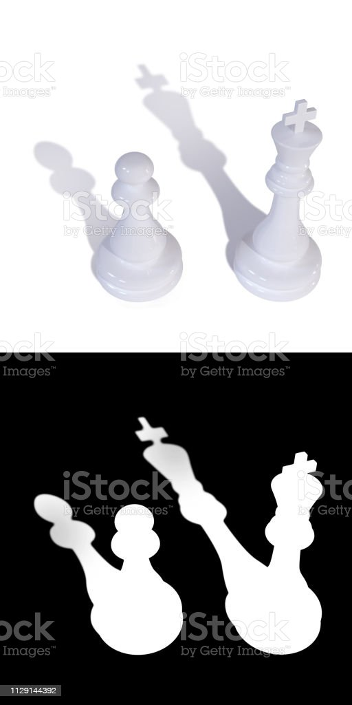 Two white chess pieces king and pawn stock photo