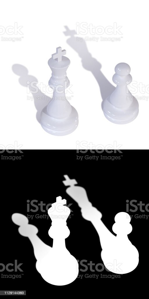 Two white chess pieces king and pawn with inverted shadows stock photo