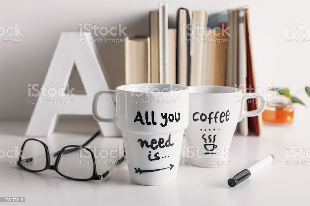 Two white coffee mug with diy decoration. stock photo