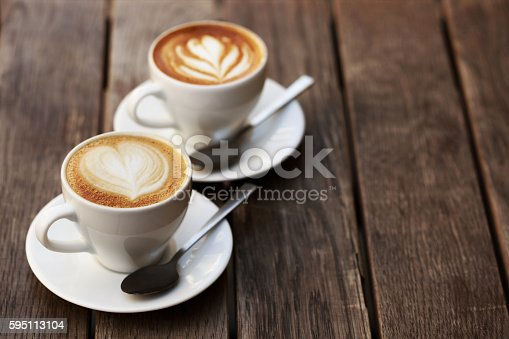 istock Two white cups of cappuccino 595113104