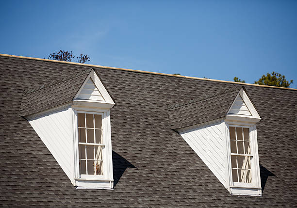 Two White Dormers on Grey Shingle Roof stock photo