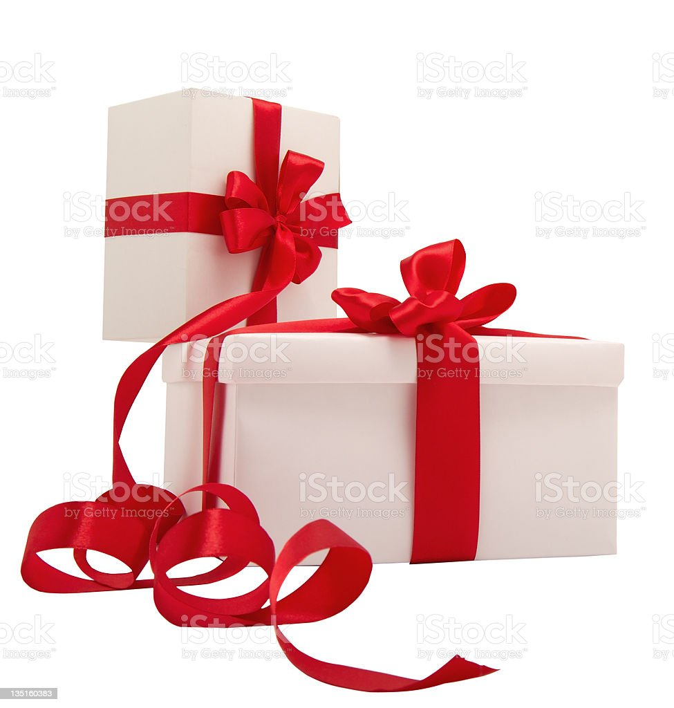 Two white gifts with red ribbons royalty-free stock photo