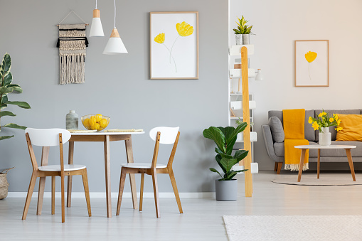 Two white lamps above a round dining table in open space apartment interior with yellow blanket on gray sofa. Real photo
