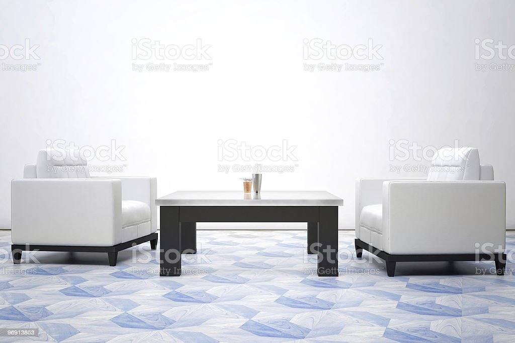 two white leather armchairs royalty-free stock photo