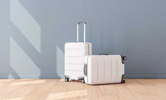 Two White Luggage mockup in empty room, Suitcase, baggage