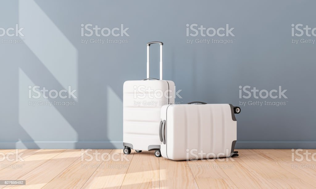 Two White Luggage mockup in empty room, Suitcase, baggage stock photo