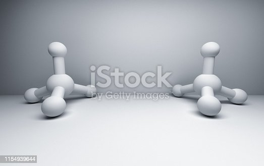906720020 istock photo Two white methane molecules 1154939644