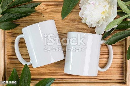 istock Two white mugs, cups wedding mockup 803916296
