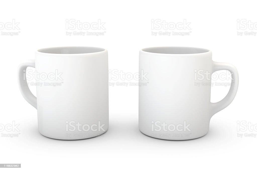 Two white mugs on white background royalty-free stock photo