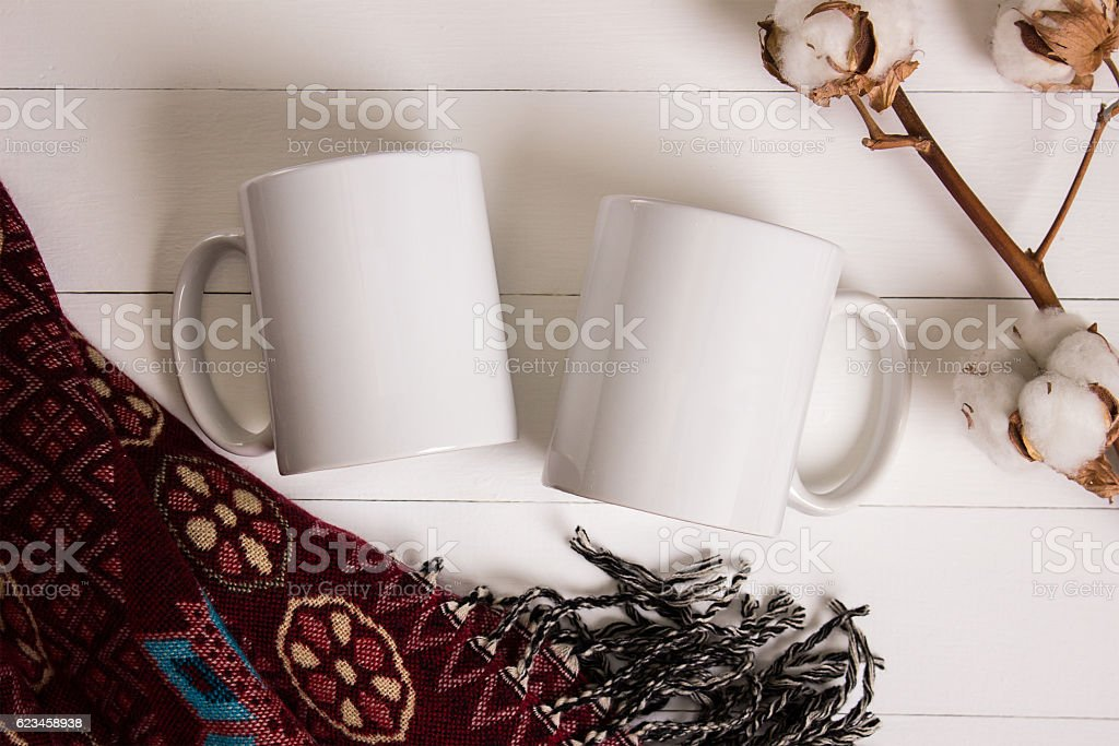 Two white mugs, pair of cups, Mockup. stock photo