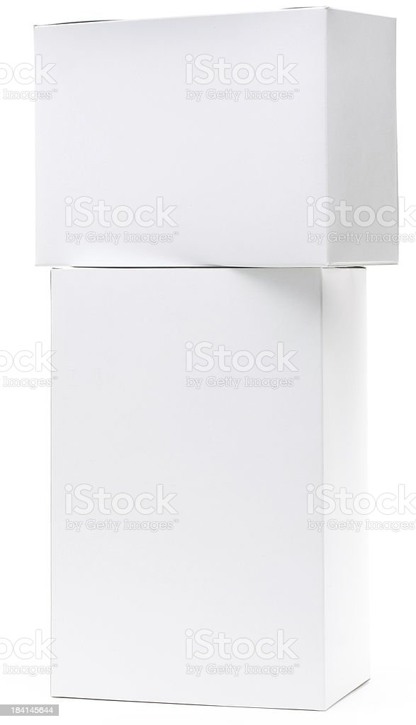 Two white packaging boxes royalty-free stock photo