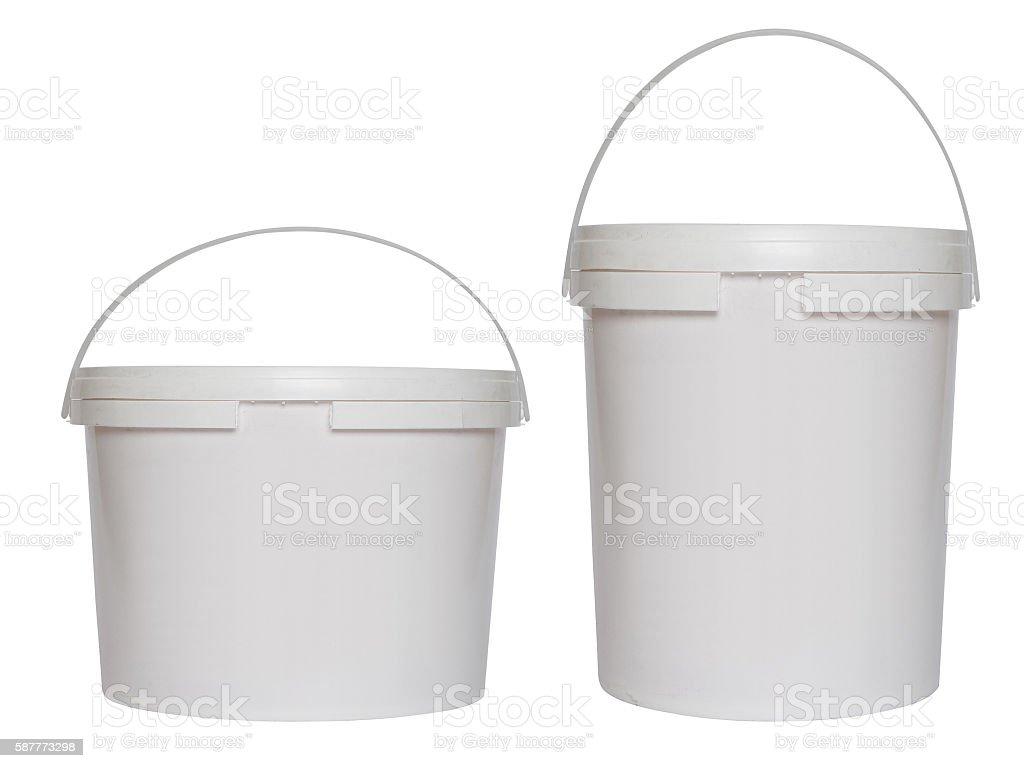 Two white plastic buckets - foto de acervo