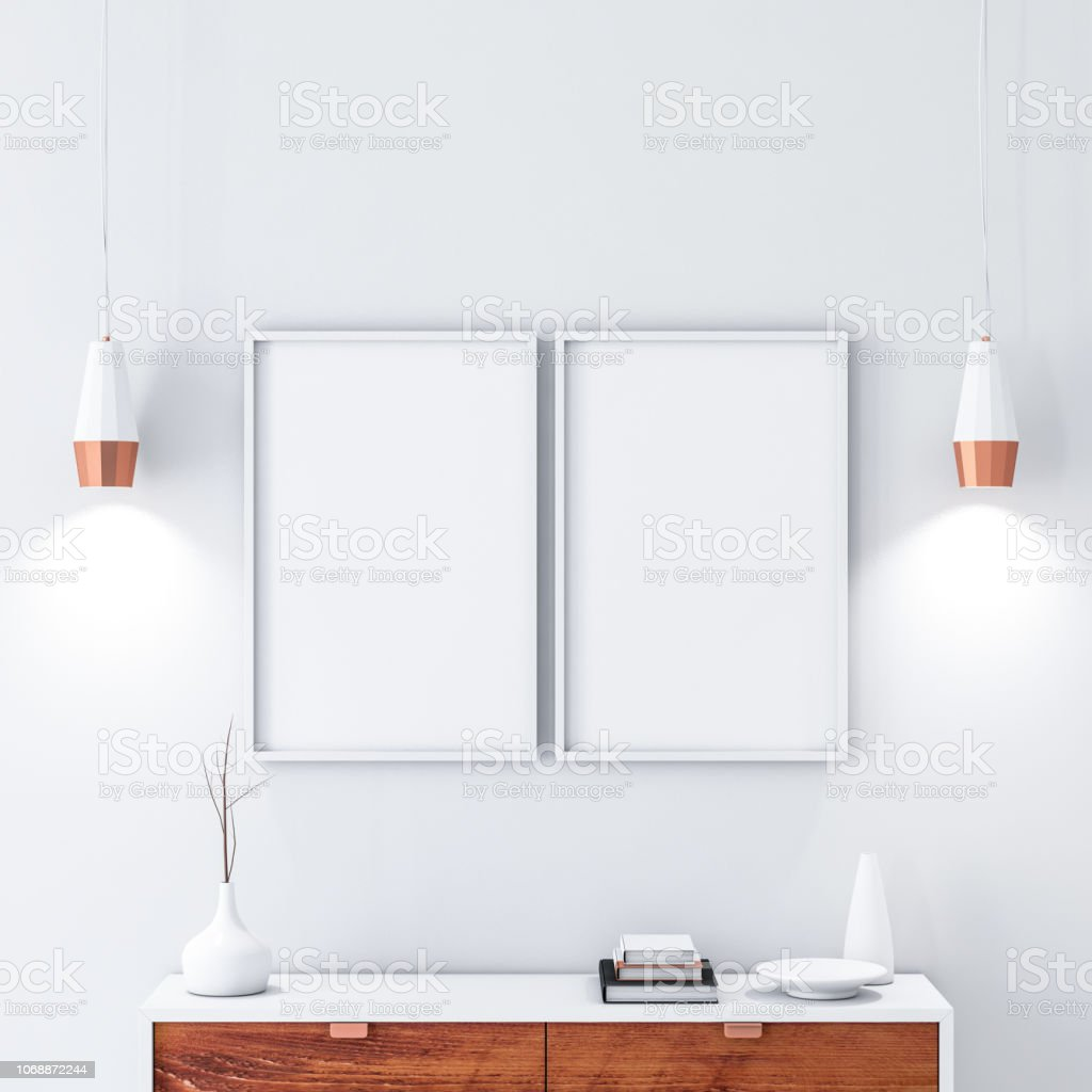 Two White Poster Frames Hanging On The Wall In Modern Interior Stock Photo Download Image Now Istock
