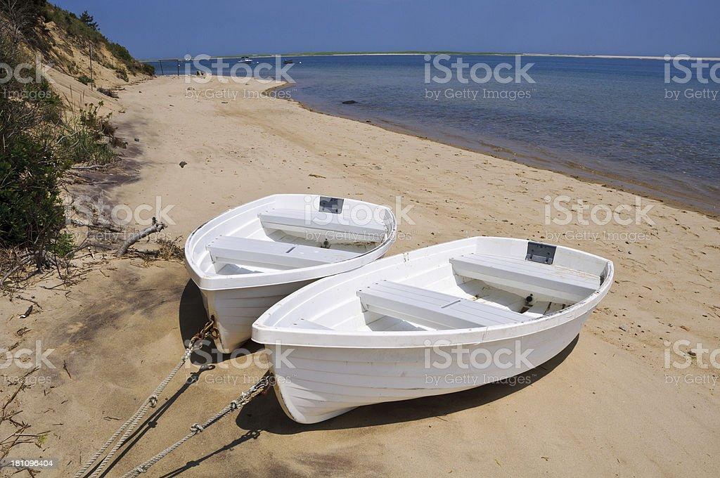 Two White Rowboats royalty-free stock photo