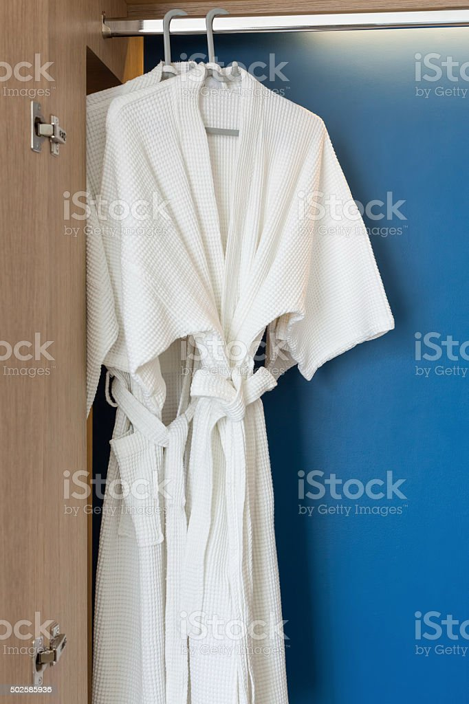 Two white shower gown stock photo