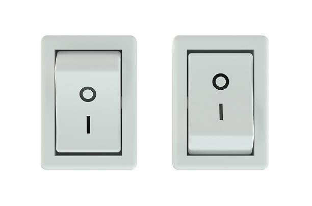 deux blanc interrupteurs abaissés - commutateur photos et images de collection