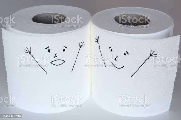 Two white toilet paper rolls sketched with a shouting and a cheerful picture id1084976746?b=1&k=6&m=1084976746&s=612x612&h=ovsu1evio8hibmpza6byoikel4f02vmw00sxoguwycy=