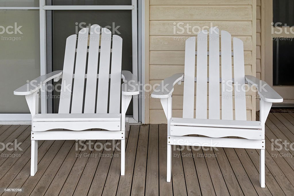 Heavy Duty Sun Lounger, Two White Wooden Adirondack Chair On Old Weathered Front Porch Stock Photo Download Image Now Istock