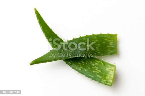 Two whole aloe vera leaves on a white background
