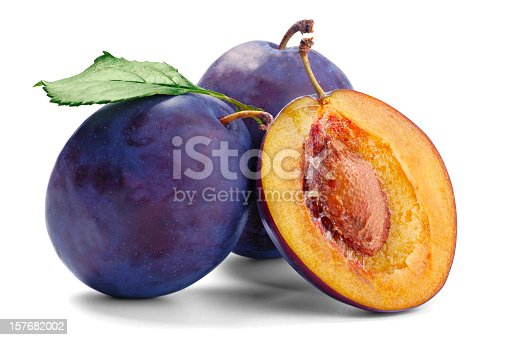 Three plum isolate on white