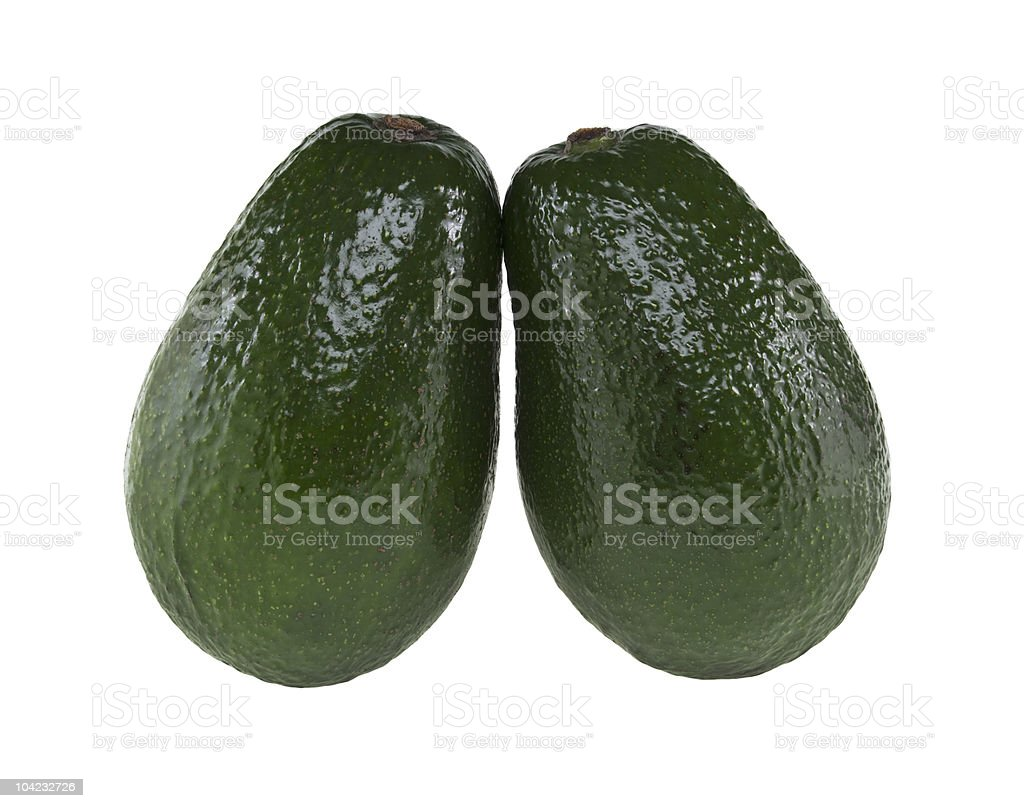 Two whole avocado isolated on white stock photo