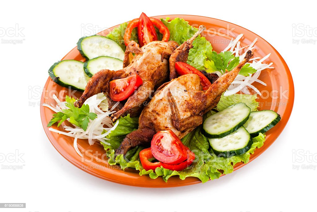 Two whole quail with cucumber, tomatoes and onion stock photo