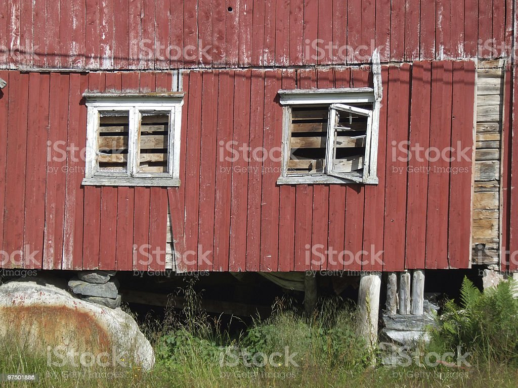 Two windows in a ruined building royalty-free stock photo