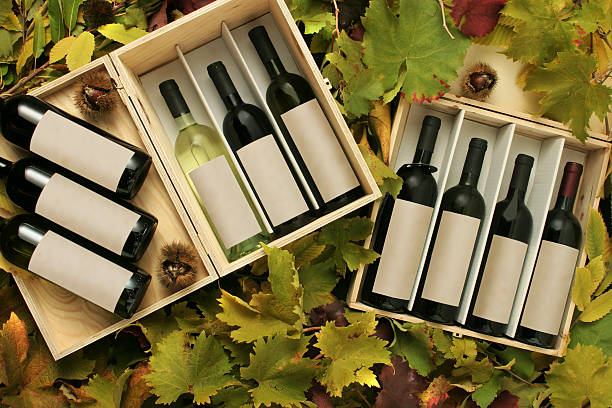 two wine gift boxes of wine bottles - playpen stock pictures, royalty-free photos & images