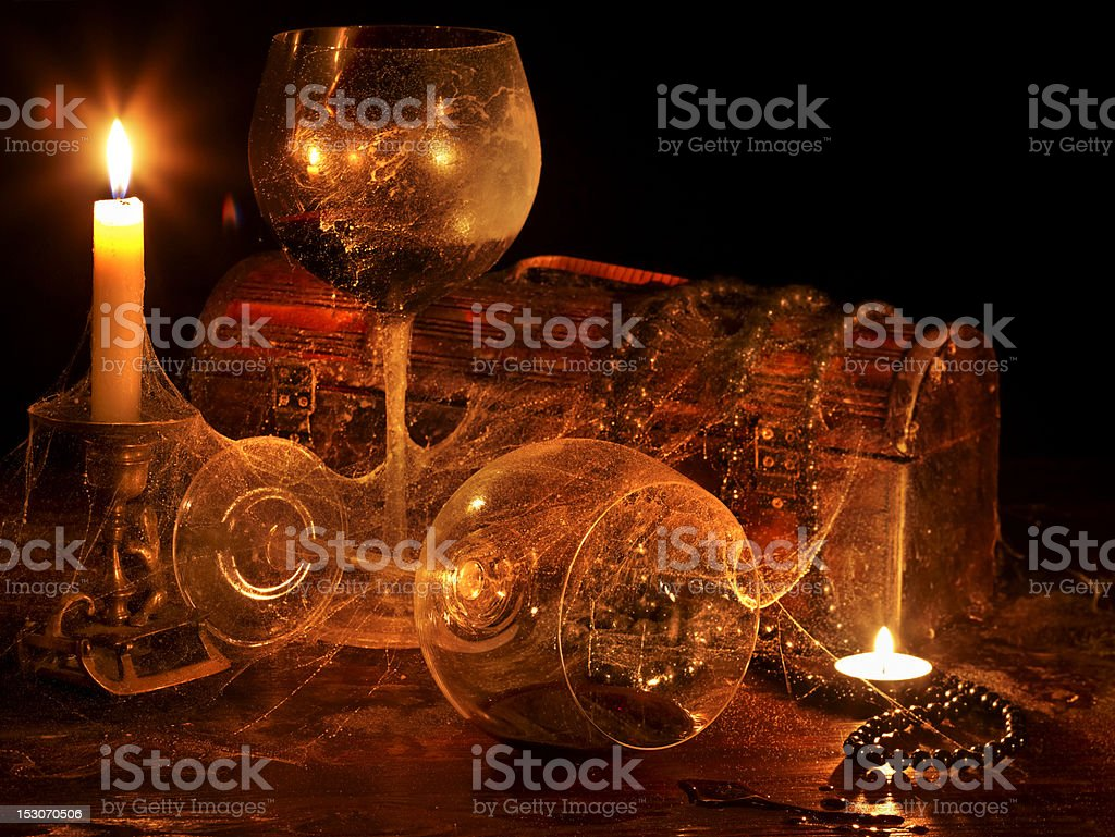 Two wine glass and candle. royalty-free stock photo