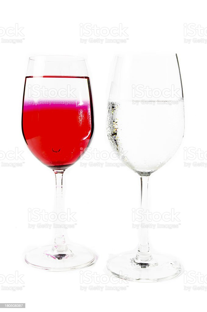 two wine glass and water royalty-free stock photo