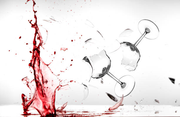 two wine glasses are destroyed stock photo