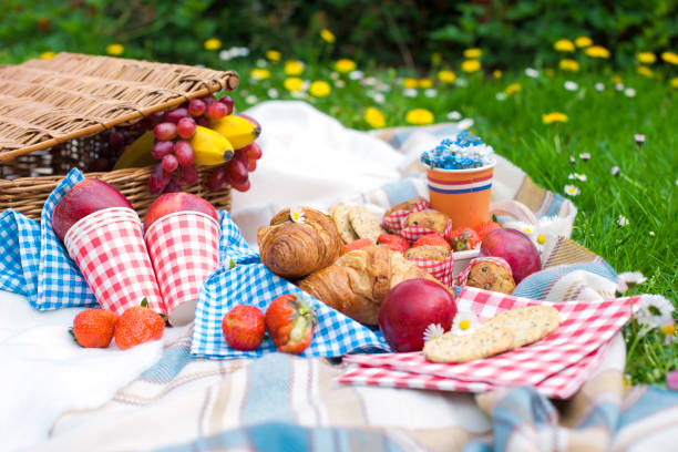 Two wine goblets, fresh strawberry, honey and wine are served for summer romantic picnicPicnic Basket with apples and bread. Family disfocused. Copy space stock photo
