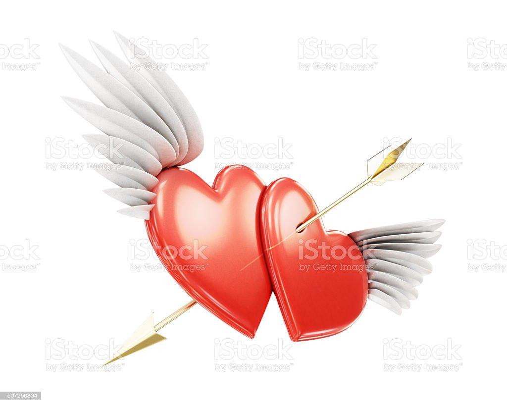 Two winged heart pierced by an arrow stock photo