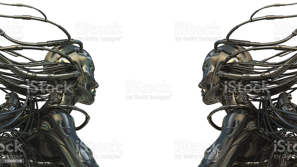 Two wired robots on white royalty-free stock photo