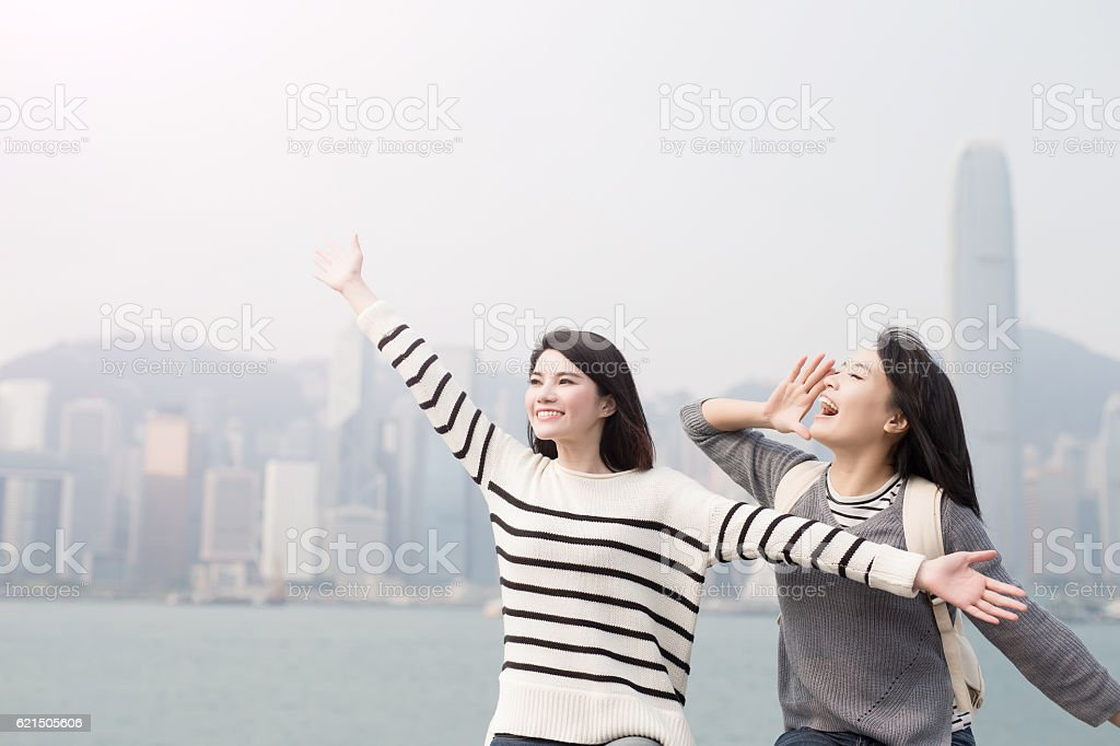 two woman do free gestures foto stock royalty-free