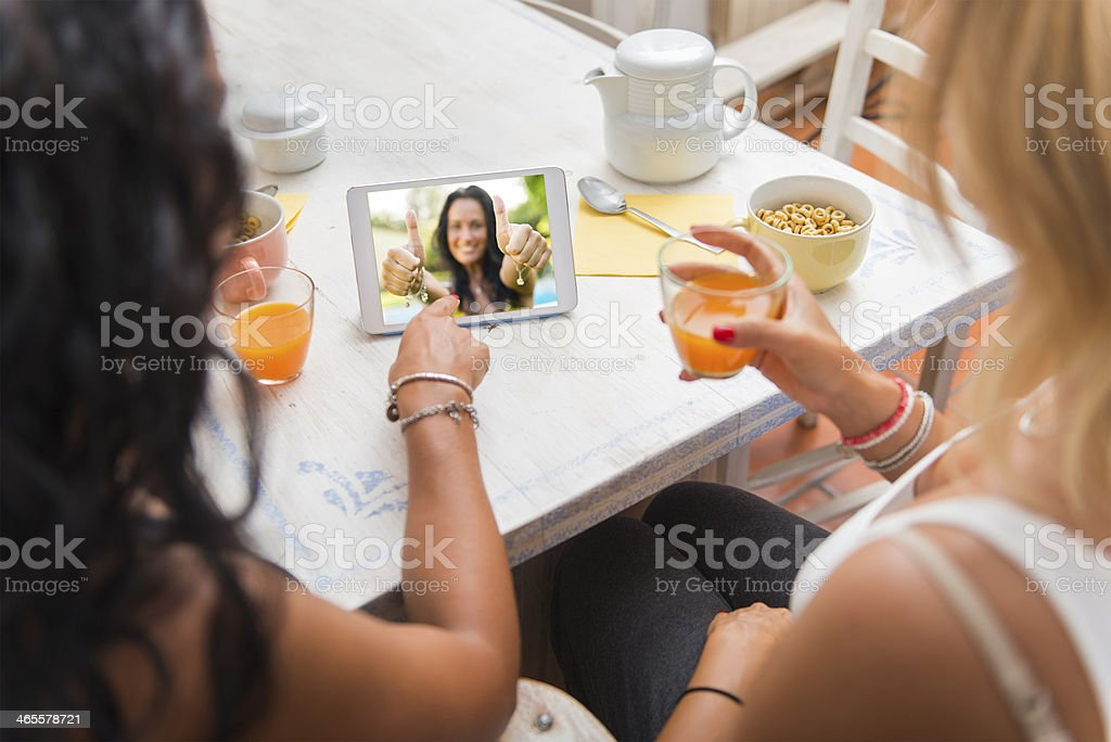 Two woman having breakfast royalty-free stock photo