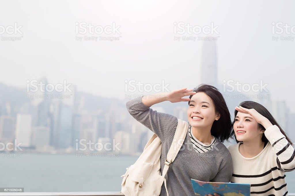 two woman look somewhere Lizenzfreies stock-foto